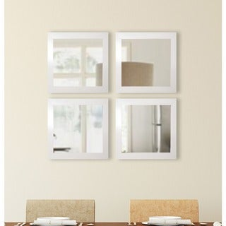 American Made Rayne Glossy White Square Wall Mirror Set (White - Set Of Four)