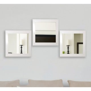 American Made Rayne Glossy White Square Wall Mirror Set (White - Set Of Three)