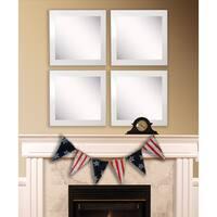 American Made Rayne Glossy White Square Wall Mirror Set