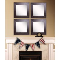 American Made Rayne Wide Brown Leather Square Wall Mirror Set