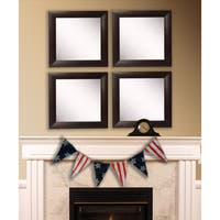 American Made Rayne Espresso Leather Square Wall Mirror Set