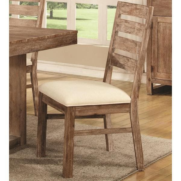 Astounding Madison Distressed Acacia Wood Dining Chairs Set Of 2 Neutral Gmtry Best Dining Table And Chair Ideas Images Gmtryco