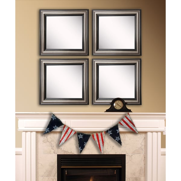 American Made Rayne Antique Silver Square Wall Mirror Set - Silver/Black