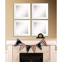 American Made Rayne White Satin Wide Square Wall Mirror Set