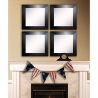 American Made Rayne Black Wide Leather Square Wall Mirror Set