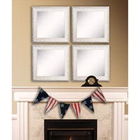 American Made Rayne French Victorian White Square Wall Mirror Set - Antique White