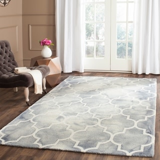 Safavieh Handmade Dip Dye Watercolor Vintage Grey/ Ivory Wool Rug (5' x 8')