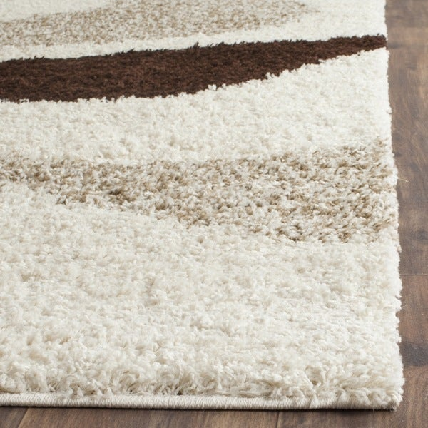 Shop Safavieh Contemporary Shag Ivory Brown Area Rug 3