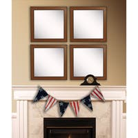 American Made Rayne Western Rope Square Wall Mirror Set - Brown
