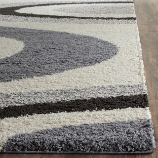 Safavieh Contemporary Shag Ivory/ Grey Area Rug (3' x 5')
