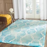 Safavieh Handmade Dip Dye Watercolor Vintage Turquoise/ Ivory Wool Rug (5' x 8')