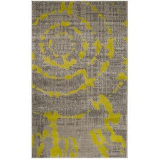 Safavieh Porcello Abstract Contemporary Light Grey/ Green Rug (3' x 5')
