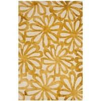 Safavieh Handmade Dip Dye Watercolor Vintage Beige/ Gold Wool Rug - 3' X 5'