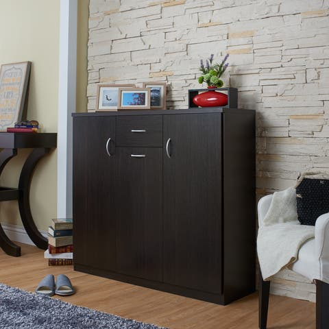 Ekko Contemporary Espresso 10-shelf Shoe Cabinet by FOA