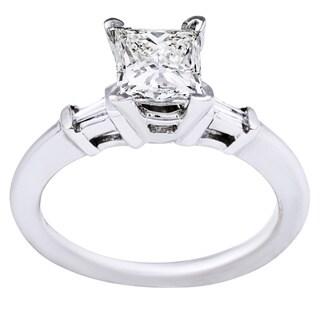 14k White Gold 1ct TDW Princess-cut Diamond Solitaire Engagement Ring (J-K, SI1-SI2)