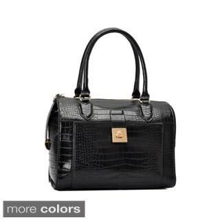 Oasis Handbag 'Essie' Glossy Crocodile Pattern Satchel Bag
