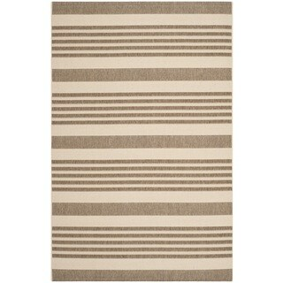 Safavieh Courtyard Stripe Brown/ Bone Indoor/ Outdoor Rug (2'7 x 5')
