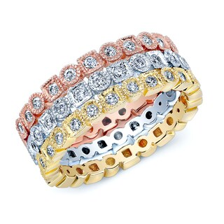 14k Tricolor Gold 5/8ct TDW Diamond Stackable Rings (H-I, SI1-SI2)