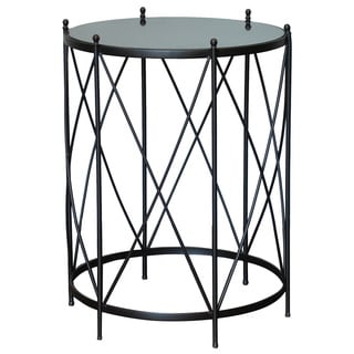 "Round Accent Table With Marble Top 29"" Tall Brown"