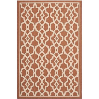Safavieh Courtyard Geometric Poolside Terracotta/ Beige Indoor/ Outdoor Rug (6'7 x 9'6)