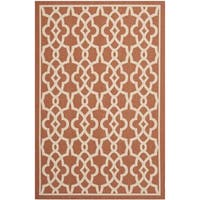 "Safavieh Courtyard Geometric Poolside Terracotta/ Beige Indoor/ Outdoor Rug - 6'7"" x 9'6"""