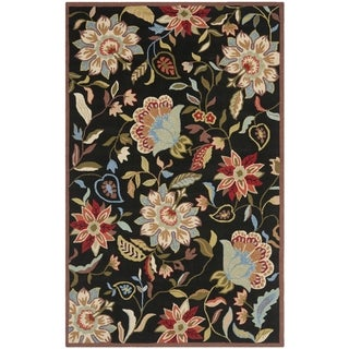 Safavieh Indoor/ Outdoor Hand-Hooked Four Seasons Black/ Purple Rug (5' x 7')