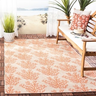 Safavieh Courtyard Coral Beige/ Terracotta Indoor/ Outdoor Rug (9' x 12')