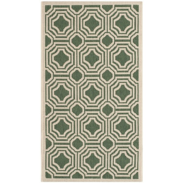 Safavieh Courtyard Dark Green/ Beige Indoor/ Outdoor Rug - 2' x 3'7