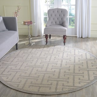 Safavieh Indoor/ Outdoor Amherst Ivory/ Light Grey Rug (7' Round)