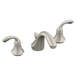 Kohler Forte 8 inch Widespread 2-handle Low-arc Bathroom Faucet in Vibrant Brushed Nickel with Plastic Drain