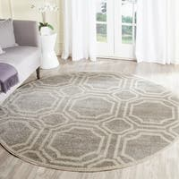 Safavieh Indoor/ Outdoor Amherst Light Grey/ Ivory Rug - 7' Round