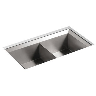 Kohler Poise Undercounter Stainless Steel 33x18x9.5 0-hole Double Bowl Kitchen Sink