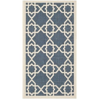 Safavieh Courtyard Geometric Trellis Navy/ Beige Indoor/ Outdoor Rug - 2'7 x 8'2