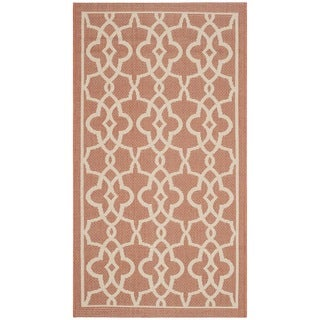 Safavieh Indoor/ Outdoor Courtyard Terracotta/ Beige Rug (2'7 x 8'2)