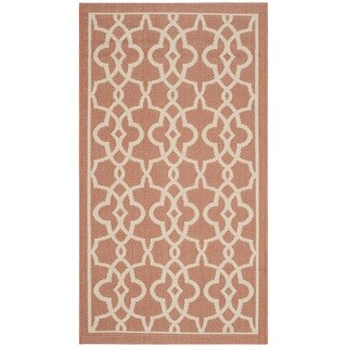 Safavieh Courtyard Geometric Poolside Terracotta/ Beige Indoor/ Outdoor Rug - 2'7 x 8'2