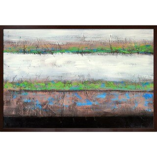Lisa Carney 'Geo Horizon 9' Hand Painted Framed Canvas Art