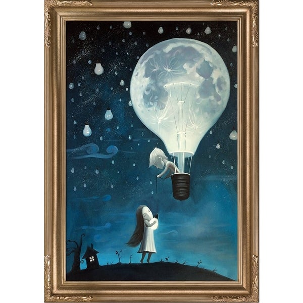 Adrian Borda 'He Gave Me The Brightest Star' Hand Painted Framed Canvas Art