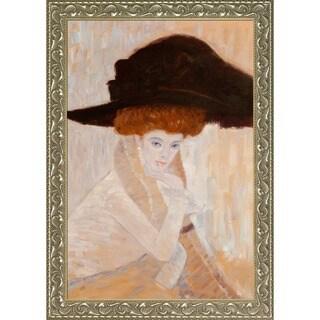 Gustav Klimt 'Black Feather Hat' Hand Painted Framed Canvas Art