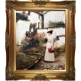 John William Waterhouse 'Gathering Summer Flowers in a Devonshire Garden' Hand Painted Framed Canvas Art