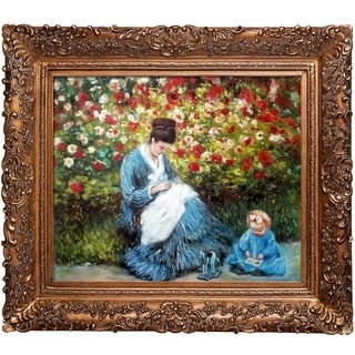 Claude Monet 'Camille Monet and a Child in the Artist's Garden in Argenteuil' Hand Painted Framed Canvas Art