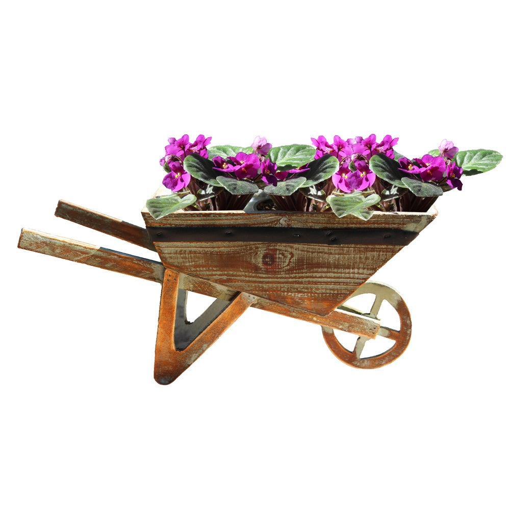 Vintiquewise Small Wheelbarrow Planter, Brown (Wood) #QI0...