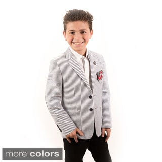 Elie Balleh Milano Italy Boys' Seersucker Stripe Blazer
