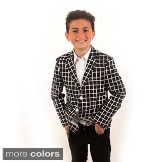 Elie Balleh Milano Italy Boys' Crosshatch Pattern Blazer (4 options available)