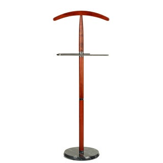 Cortesi Home CH-SR421106 Cambridge Suit Valet Stand in Cherry Wood with Marble Base