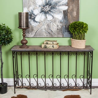 iron wood console table wrought iron and wood console table free shipping today 4803