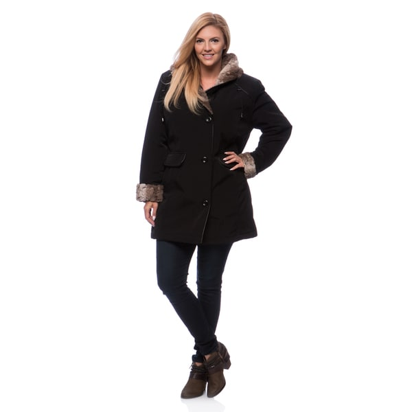 ebb729dfd8d Shop Women s Plus Size Faux Fur Trim Coat - Free Shipping Today ...