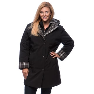 Women's Plus Size Plaid-Trim Walker Coat