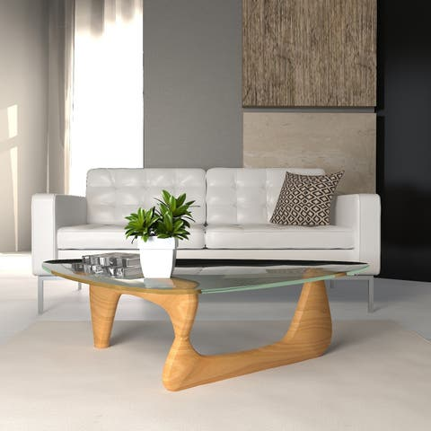 LeisureMod Imperial Triangle Coffee Table with Natural Wood Base