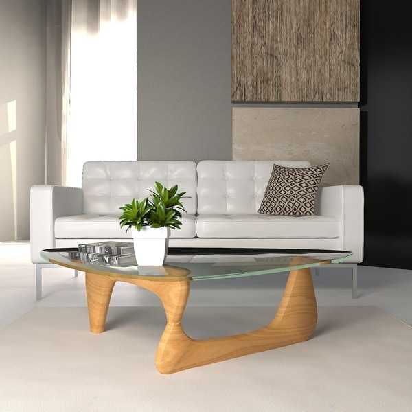 LeisureMod Imperial Triangle Coffee Table with Natural Wood Base. Opens flyout.