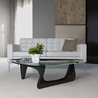 LeisureMod Imperial Triangle Coffee Table with Black Wood Base
